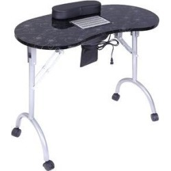 Portable MDF Manicure Table Spa Beauty Salon Equipment Desk (Black) found on Bargain Bro Philippines from Overstock for $125.99
