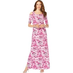 Plus Size Women's Ultrasmooth Fabric Cold-Shoulder Maxi Dress by Roaman's in Berry Tie Dye Paisley (Size 22/24) found on Bargain Bro Philippines from fullbeauty for $39.99