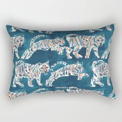 "Tiger Pounce Rectangular Pillow by Barbarian By Barbra Ignatiev - Small (17"" x 12"")"
