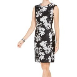 petite N Natori Womens Sheath Dress Black Size 14 Floral-Print Jacquard (14), Women's found on Bargain Bro Philippines from Overstock for $74.98