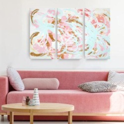 Wrought Studio™ 'Grande Jete' Acrylic Painting Print Multi-Piece Image on Wrapped Canvas Metal in Blue/Brown/Pink, Size 40.0 H x 60.0 W x 2.0 D in found on Bargain Bro Philippines from Wayfair for $118.99