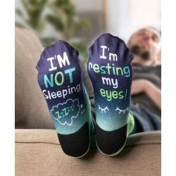 Personalized Planet Men's Socks - Blue & Green 'I'm Not Sleeping' Personalized Name Socks
