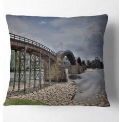Designart 'Kintai Bridge in Iwakuni Yamaguchi' Landscape Printed Throw Pillow (Square - 16 in. x 16 in. - Small), Multicolor, DESIGN ART(Polyester, found on Bargain Bro from Overstock for USD $24.62