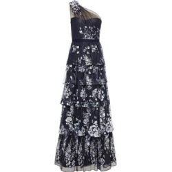 One-shoulder Embellished Tiered Tulle Gown - Blue - Marchesa notte Dresses found on MODAPINS from lyst.com for USD $478.00
