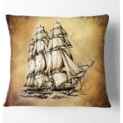 Designart 'Moving Old Sailboat Drawing' Seashore Wall Throw Pillow (Square - 18 in. x 18 in. - Medium), Multicolor, DESIGN ART(Polyester, Graphic found on Bargain Bro from Overstock for USD $25.19