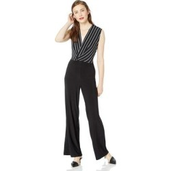 Bebe Womens Black Striped Wrap Jumpsuit (2), Women's(Mesh) found on Bargain Bro Philippines from Overstock for $74.99