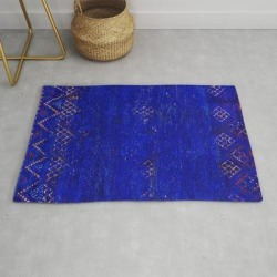 -a5- Royal Calm Blue Bohemian Moroccan Artwork. Modern Throw Rug by Arteresting Bazaar - 2' x 3' found on Bargain Bro Philippines from Society6 for $39.20