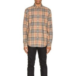 Long Sleeve Shirt - Natural - Burberry Shirts found on Bargain Bro from lyst.com for USD $357.20