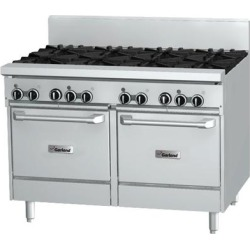 """Garland GF48-6G12LL Natural Gas 6 Burner 48"""" Range with Flame Failure Protection, 12"""" Griddle, and 2 Space Saver Ovens - 238,000 BTU"""