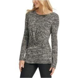 DKNY Womens Black Heather Long Sleeve Jewel Neck Top Size XL (Black - XL), Women's(knit, Solid) found on Bargain Bro India from Overstock for $17.73