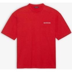 Logo Medium Fit T-shirt - Red - Balenciaga T-Shirts found on Bargain Bro from lyst.com for USD $437.00