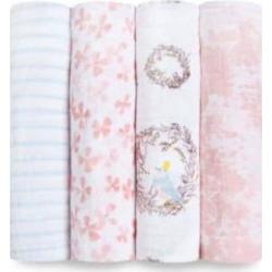 Aden & Anais - 4 Piece Cotton Birdsong Swaddle Set - Pink/White/Brown