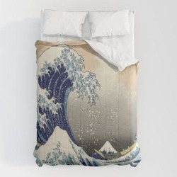 Comforters | Seascape Painting Japanese Ukiyo E Art The Great Wave Off Kanagawa by Chicelegantboutique - Queen: 88