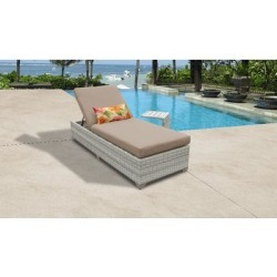 Fairmont Chaise Outdoor Wicker Patio Furniture w/ Side Table in Wheat - TK Classics Fairmont-1X-St-Wheat