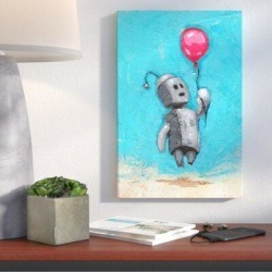 Wrought Studio™ 'Bot Balloon' Giclee Acrylic Painting Print on CanvasMetal in Blue/Brown/Gray, Size 40.0 H x 26.0 W x 0.75 D in | Wayfair found on Bargain Bro Philippines from Wayfair for $129.99