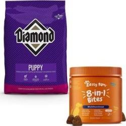 Diamond Puppy Formula Dry Food + Zesty Paws 8-in-1 Multivitamin Bites Chicken Flavor Dog Supplement