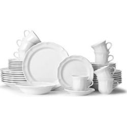 Mikasa French Country 40-piece Dinnerware Set (Service for 8) (Cream - 40 Piece), Ivory(Ironstone, Solid) found on Bargain Bro from Overstock for USD $131.46