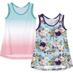 Sunshine Swing Girls' Tank Tops - Turquoise & Pink Floral Scoop Neck Tank Set - Girls found on Bargain Bro Philippines from zulily.com for $20.00