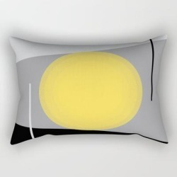 Rectangular Pillow   Keeping It Together - Abstract - Gray, Black, Yellow by Mellowcat - Small (17