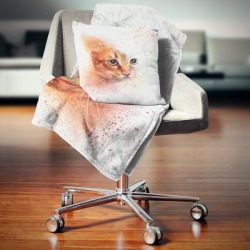 Designart 'Beautiful Brown Kitten Watercolor' Animal Throw Blanket found on Bargain Bro from Overstock for USD $51.03