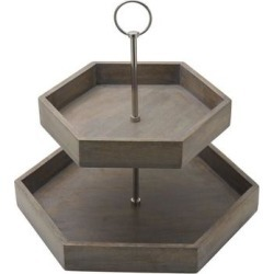 Gourmet Basics by Mikasa Hex 2Tier Mango Wood Tray found on Bargain Bro from Overstock for USD $43.31