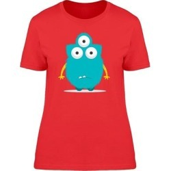 Confused Monster With Three Eyes Tee Women's -Image by Shutterstock (S), Red(cotton, Graphic) found on Bargain Bro India from Overstock for $14.24
