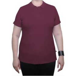 Dickies Girl Plus Short Sleeve 3 Button Pique Polo Shirt - Burgundy Size 4Xl (PQ924P) found on Bargain Bro from Dickies.com for USD $12.91