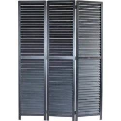 Transitional Wooden Screen with 3 Panels and Shutter Design, Black - 67 H x 2 W x 47 L Inches found on Bargain Bro Philippines from Overstock for $1153.04