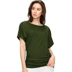 petite Women's Solid Short Sleeve Boat Neck V Neck Dolman Top (S - OLIVE), Green(rayon) found on Bargain Bro India from Overstock for $17.99