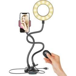 eDooFun Camera Mounts Black - Black Clip-On USB LED Ring Light & Phone Holder found on Bargain Bro from zulily.com for USD $14.43