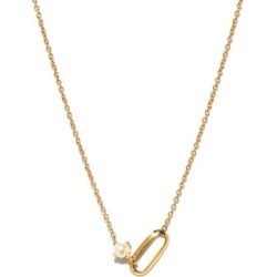 June Birthstone Pearl & 18kt Gold Necklace - Metallic - Lizzie Mandler Necklaces found on Bargain Bro from lyst.com for USD $608.00
