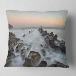 Designart 'Rocky Beach with White Waters' Modern Seashore Throw Pillow (Square - 18 in. x 18 in. - Medium), Blue, DESIGN ART(Polyester, Nature) found on Bargain Bro from Overstock for USD $29.63