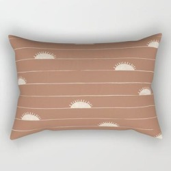Rectangular Pillow | Horizon Line In Clay And Ivory by Birds Eye Textiles - Small (17