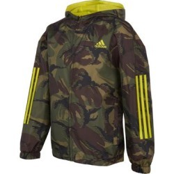 adidas Boys' Windbreakers and Shell Jackets BLK/GRN - Black & Green Camo Logo Hooded Windbreaker - Boys found on Bargain Bro Philippines from zulily.com for $32.99