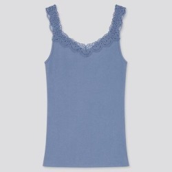 UNIQLO Women's Cotton Ribbed Lace Sleeveless Top, Blue, XXL found on Bargain Bro from Uniqlo for USD $7.52