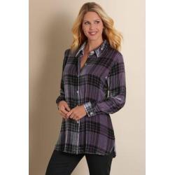 Women's Plaid Velvet Big Shirt by Soft Surroundings, in Purple Haze size 2XS (0)