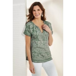 Women Quinn T-Shirt by Soft Surroundings, in Smokey Sage size 1X (18-20)