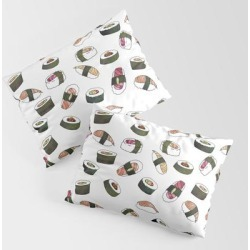 King Size Pillow Sham | Sushi On White by Jordyn St. John - STANDARD SET OF 2 - Cotton - Society6 found on Bargain Bro from Society6 for USD $30.39