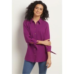 Women Sunset Shirt by Soft Surroundings, in Hollyhock size 1X (18-20)