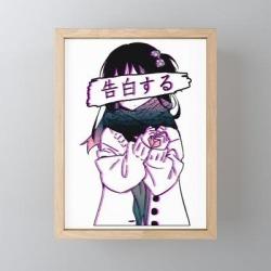 "Confession - Sad Japanese Anime Aesthetic Framed Mini Art Print by Poser_boy - Light Wood - 3"" x 4"""