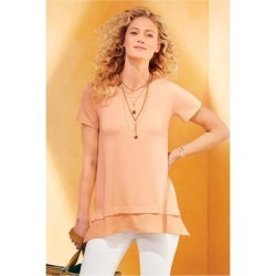 Women Willa Short Sleeve T-Shirt by Soft Surroundings, in Peach Fuzz size 1X (18-20)