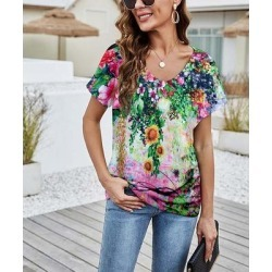 Camisa Women's Tee Shirts Multicolor - Green & Pink Sunflower V-Neck Top - Women found on Bargain Bro from zulily.com for USD $12.91