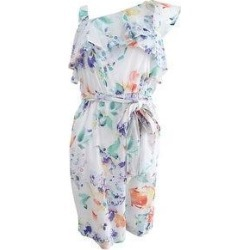 Calvin Klein Women's Printed One-Shoulder Flounce Dress (8), White(cotton) found on Bargain Bro from Overstock for USD $44.45