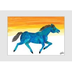 Marmont Hill - Handmade Galloping Blue Horse Painting on Framed Print found on Bargain Bro Philippines from Overstock for $92.99