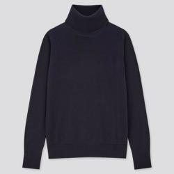 UNIQLO Women's Extra Fine Merino Turtleneck Sweater, Navy, L found on Bargain Bro India from Uniqlo for $29.90