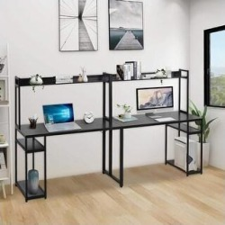 Home office double Workstation Desk, Two Person Computer Desk with Storage,Multifunction Writing Desk with Shelf (Black) found on Bargain Bro Philippines from Overstock for $265.49