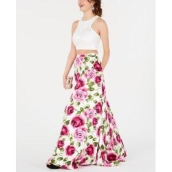 B Darlin Juniors' 2-Pc. Lace Floral-Print Gown Pink Size 0 (Pink), Women's found on Bargain Bro Philippines from Overstock for $28.80
