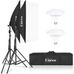 Kshioe Photo Equipment Studio Softbox Lighting Kit with 2x5500K Instant Brightness Energy Saving Lighting Bulbs found on Bargain Bro Philippines from Overstock for $62.99