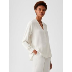 Silk Georgette Crepe V-neck Shirt - White - Eileen Fisher Tops found on Bargain Bro India from lyst.com for $278.00