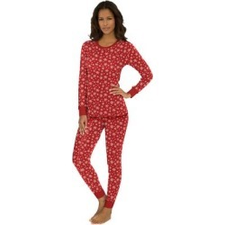Plus Size Women's Thermal Long Sleeve Tee by Comfort Choice in Classic Red Snow Fall (Size M) found on Bargain Bro Philippines from Ellos for $14.99